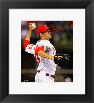 Framed Cole Hamels Baseball Pitching Print
