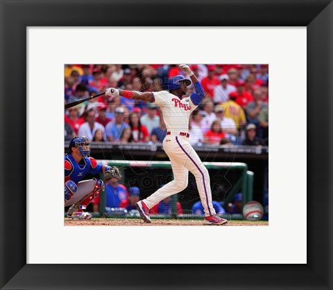 Framed Domonic Brown 2014 batting Action Print