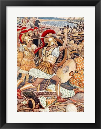 Framed They Crashed Into the Persian Army with Tremendous Force Print
