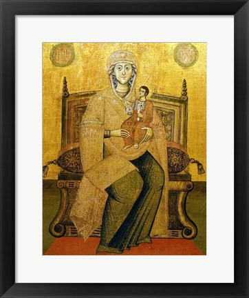 Framed God's Mother On The Throne Print