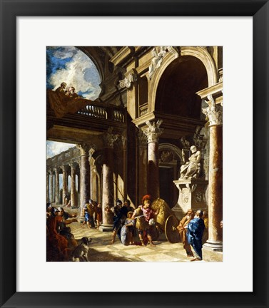 Framed Alexander the Great Cutting the Gordian Knot Print