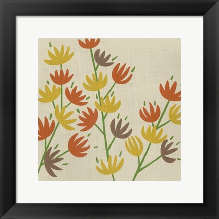 Framed Retro Blossoms III Print