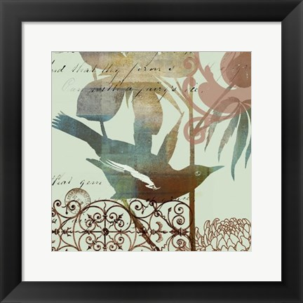 Framed Fanciful Bird I Print