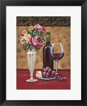 Framed Vintage Flowers & Wine I Print