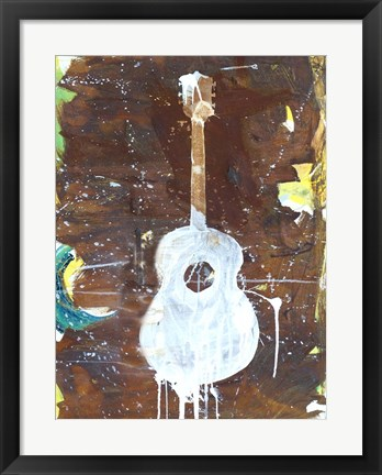 Framed Yellow Guitar Print