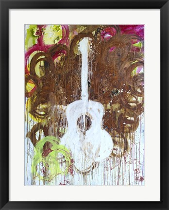 Framed White Guitar Print