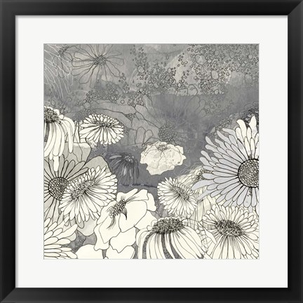 Framed Flowers on Grey I Print