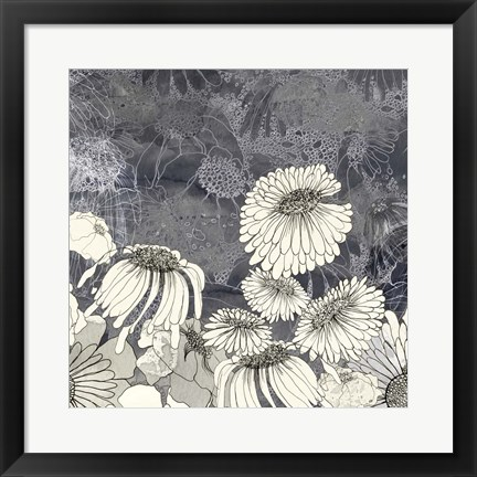 Framed Flowers on Grey III Print