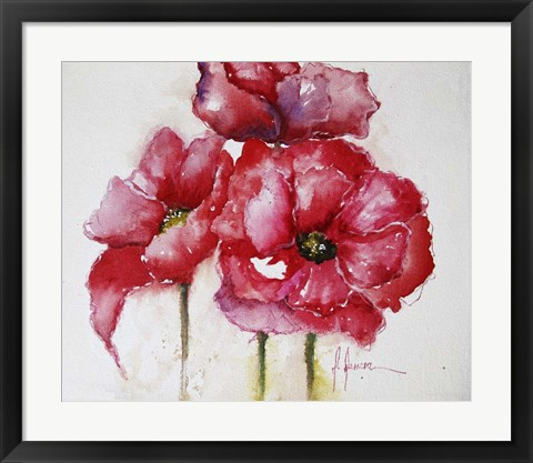 Framed Fuchsia Poppies I Print