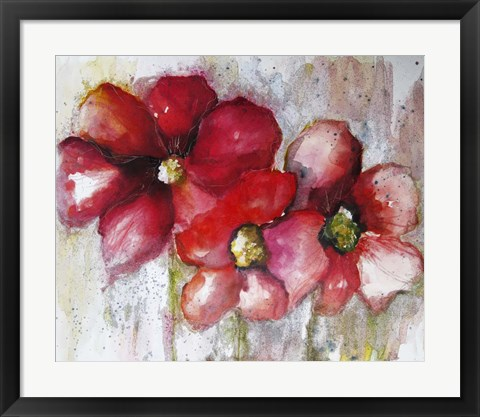 Framed Fuchsia Poppies II Print