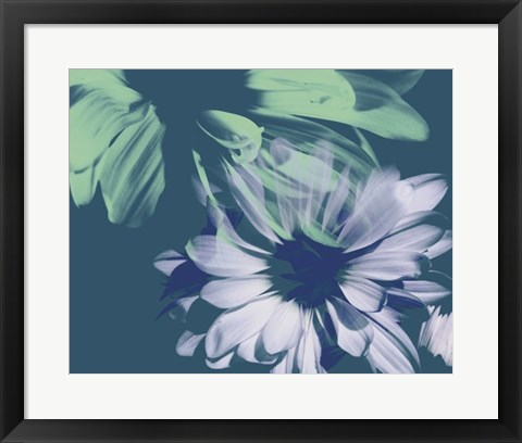 Framed Teal Bloom I Print