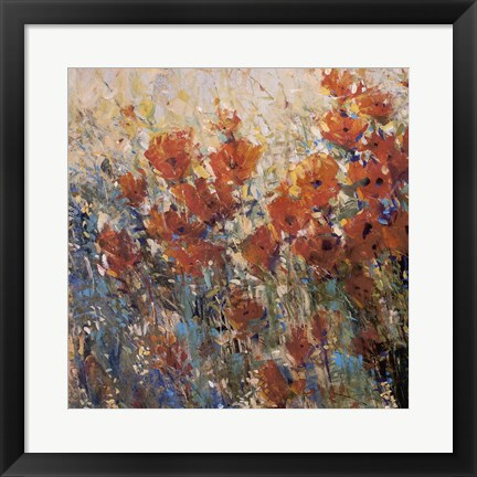 Framed Red Poppy Field I Print