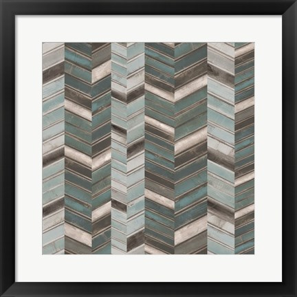 Framed Stacked Chevron I Print