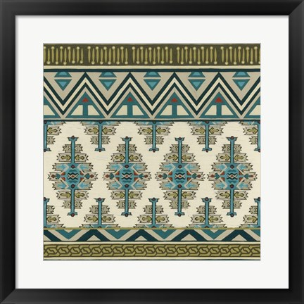 Framed Turquoise Textile II Print