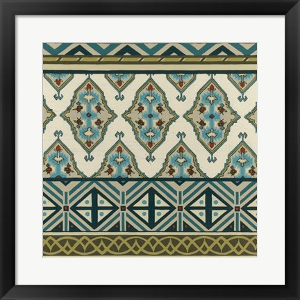 Framed Turquoise Textile III Print