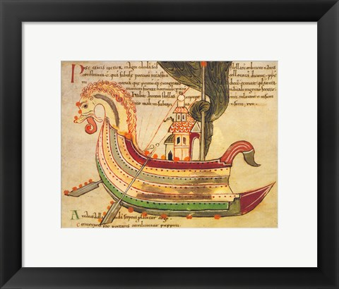 Framed Viking Dragon Ship Print