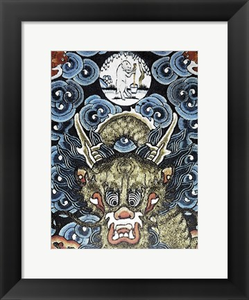 Framed Dragon and White Rabbit Making Elixir of Immortality Print