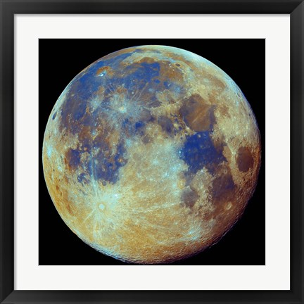 Framed Colored moon, (geological differences) Print