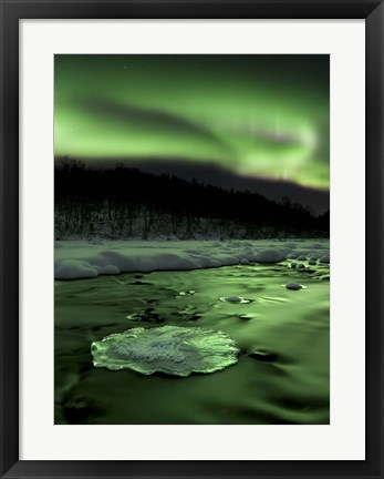 Framed Aurora Borealis reflects off the Tennevik River, Troms County, Norway Print