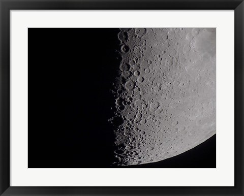 Framed South terminator of 7 day moon Print