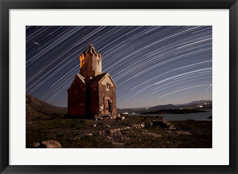 Framed Star trails above Dzordza church, Iran Print