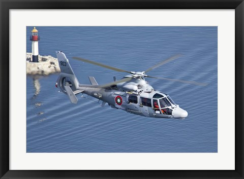 Framed Bulgarian Navy Eurocopter AS-565MB Panther over Black Sea Print
