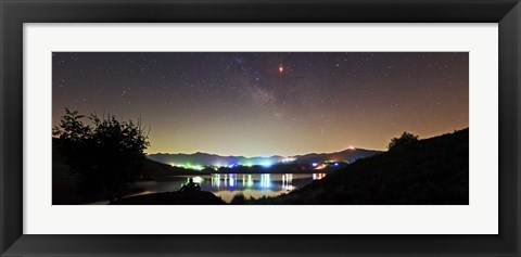 Framed Lunar eclipse and Milky Way above Taleqan Lake, Iran Print