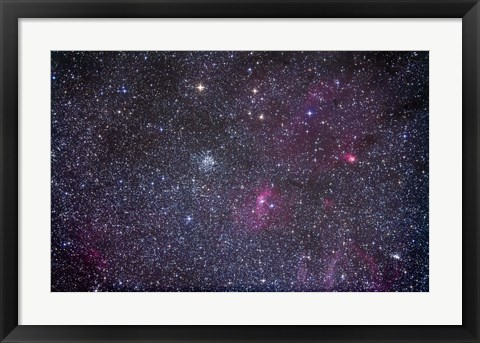 Framed Open cluster Messier 52 and the Bubble Nebula in the constellation Cassiopeia Print