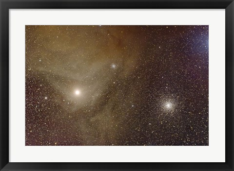 Framed Messier 4 and NGC 6144 globular clusters with Antares, a red supergiant star Print