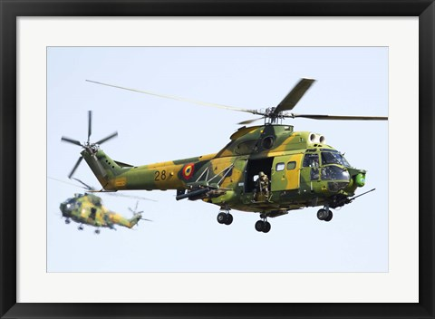 Framed Romanian Air Force IAR-330L SOCAT helicopters Print