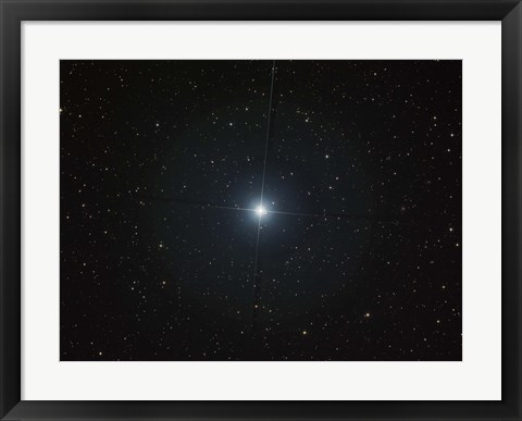 Framed bright white star Castor in the constellation Gemini Print