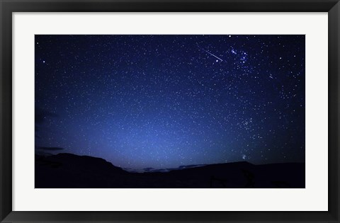 Framed bright sporadic meteor in the patagonic skies of Somuncura, Argentina Print