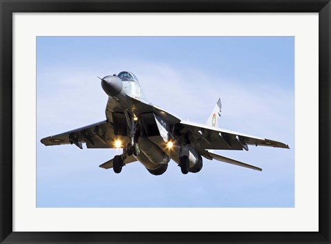 Framed Bulgarian Air Force MiG-29 prepares for landing Print