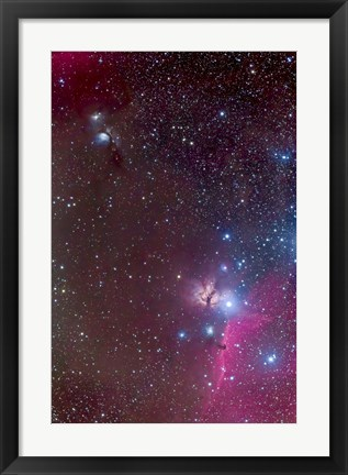 Framed Area around the Belt of Orion, with the Horsehead and Flame Nebula Print