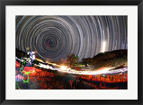 Framed Astronomers observe polar star trails above a mountain in Iran Print