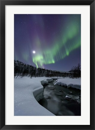 Framed Aurora Borealis over the Blafjellelva River in Troms County, Norway Print