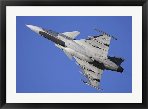 Framed Hungarian Air Force Saab JAS-39C Gripen fighter plane Print