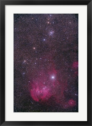 Framed NGC 3766 and the Lambda Cen Nebula in the constellation Centaurus Print