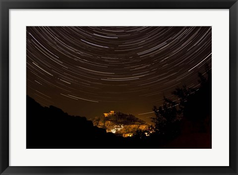 Framed Star trails above Kavir National Park, Iran Print