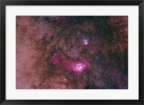 Framed Lagoon Nebula and Trifid Nebula in the constellation Sagittarius Print