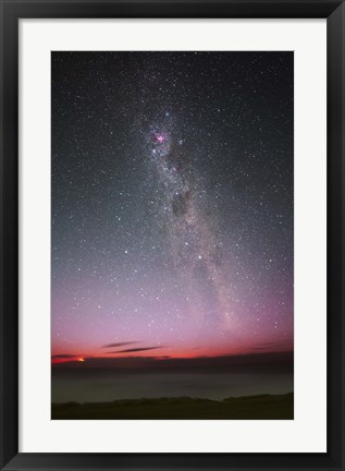 Framed Milky Way with an aurora, a meteor and lightning Print