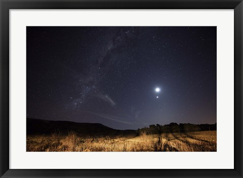 Framed Milky Way, the Moon, Venus and Spica after twilight in Azul, Argentina Print
