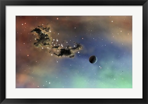 Framed lonely planet is lit by two stars as it passes by a dark cloud of dust Print