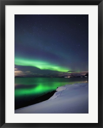 Framed Aurora Borealis over Vagsfjorden in Troms County, Norway Print