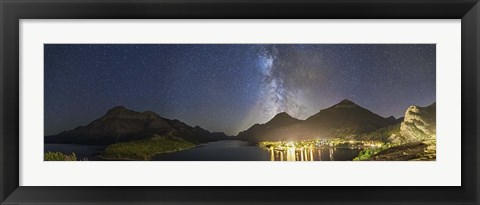 Framed Panorama of Waterton Lakes National Park overlooking the townsite Print