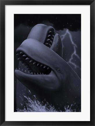 Framed Two male livyatan whales fighting for the right to mate Print