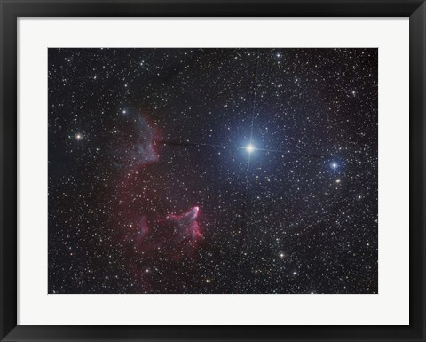Framed Variable star Gamma Cassiopeiae, with associated emission and reflection nebulae Print