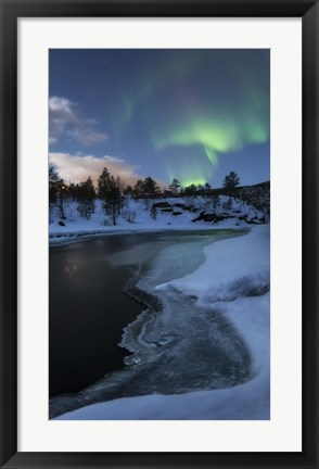 Framed Aurora Borealis over Tennevik River, Troms, Norway Print