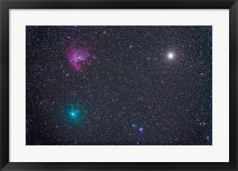 Framed Comet Hartley 2 near the Pacman Nebula, NGC 281, in Cassiopeia Print