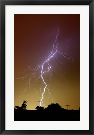 Framed bright bolt of lightning at the suburbs of Buenos Aires, Argentina Print